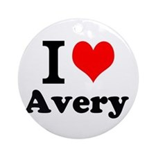 I Love Avery Ornament (Round)