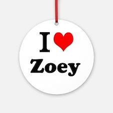 I Love Zoey Ornament (Round)