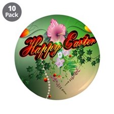 """Happy easter with easter eggs 3.5"""" Button (10 pack"""