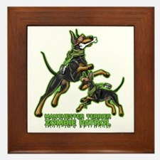 Manchester Terrier Zombie Patrol Framed Tile