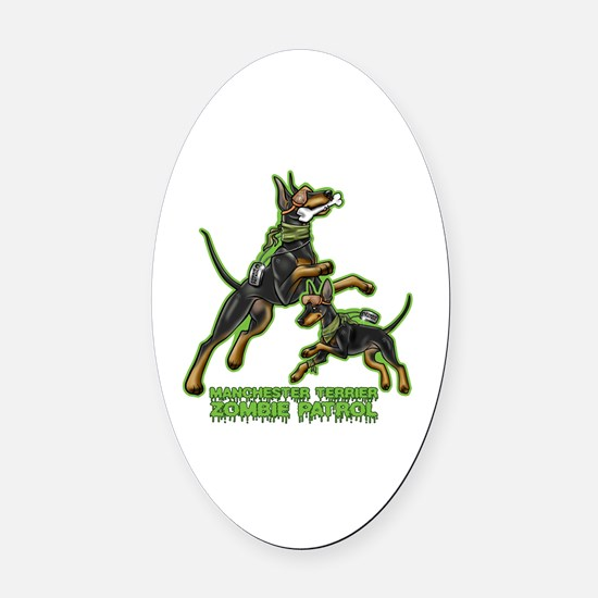 Manchester Terrier Zombie Patrol Oval Car Magnet