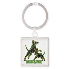 Manchester Terrier Zombie Patrol Square Keychain