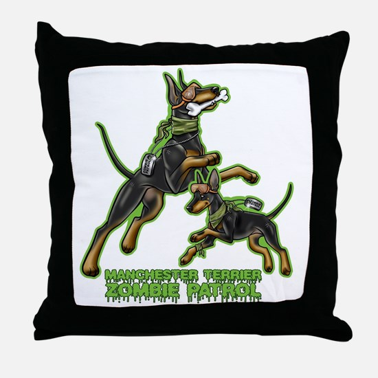 Manchester Terrier Zombie Patrol Throw Pillow