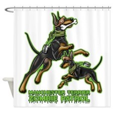 Manchester Terrier Zombie Patrol Shower Curtain