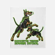 Manchester Terrier Zombie Patrol Throw Blanket