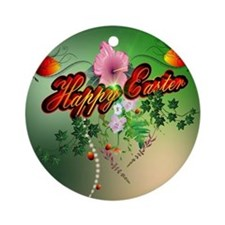 Happy easter with easter eggs Ornament (Round)