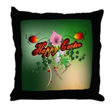 Happy easter with easter eggs Throw Pillow