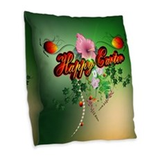 Happy easter with easter eggs Burlap Throw Pillow