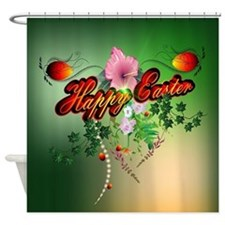 Happy easter with easter eggs Shower Curtain