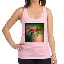 Happy easter with easter eggs Racerback Tank Top