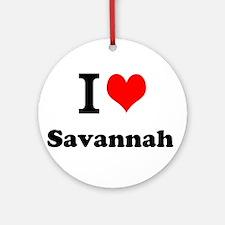 I Love Savannah Ornament (Round)