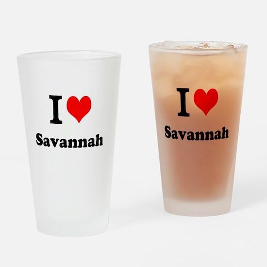 I Love Savannah Drinking Glass