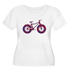 fat tire logo blue and red fire Plus Size T-Shirt