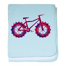 fat tire logo blue and red fire baby blanket