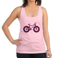 fat tire logo blue and red fire Racerback Tank Top