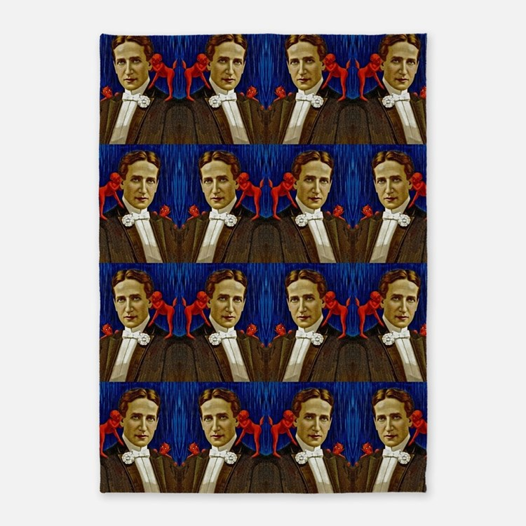 harry houdini devils red blue 5'x7'Area Rug