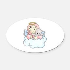 ANGEL ON CLOUD Oval Car Magnet