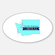 True Blue Washington LIBERAL Oval Decal