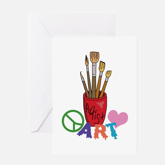 PEACE LOVE ART Greeting Cards