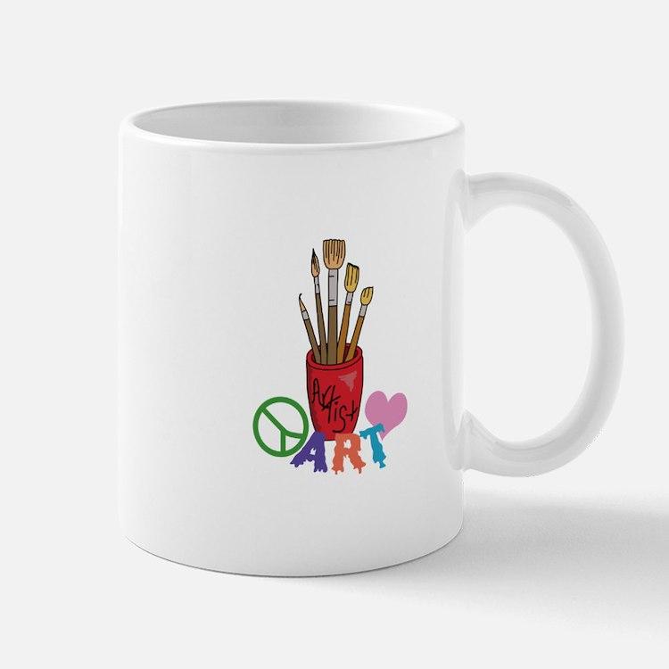 PEACE LOVE ART Mugs