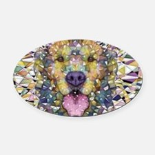 Rainbow Dog Oval Car Magnet
