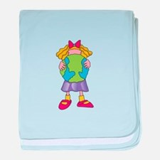 CHILD HOLDING EARTH baby blanket