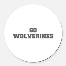 WOLVERINES-Fre gray Round Car Magnet