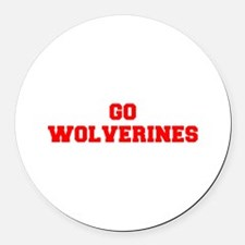 WOLVERINES-Fre red Round Car Magnet