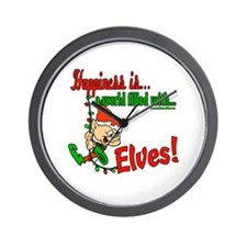 Happiness is an Elf Wall Clock
