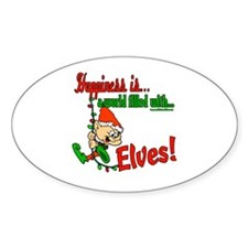 Happiness is an Elf Oval Decal