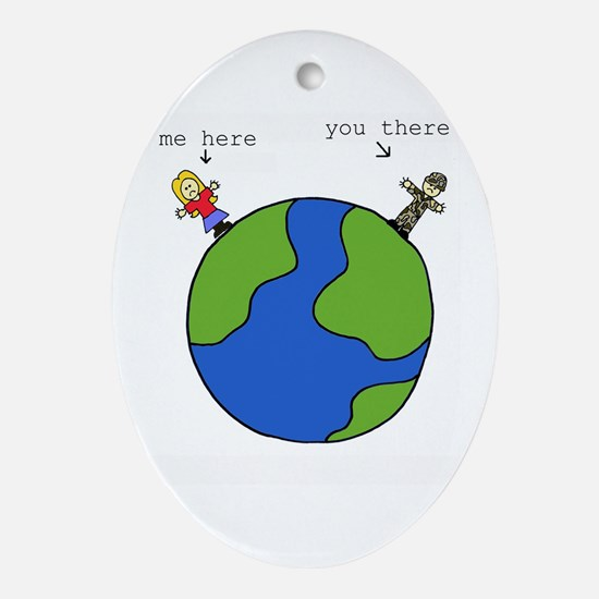 me here, you there (blonde) Oval Ornament