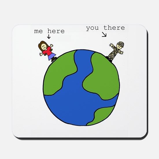 me here, you there (brown) Mousepad