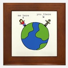 me here, you there (brown) Framed Tile