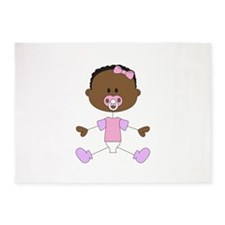 BABY GIRL WITH PACIFIER 5'x7'Area Rug