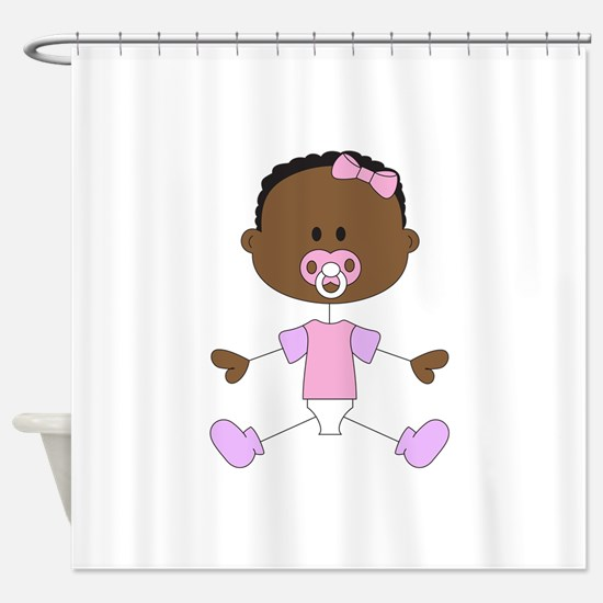 BABY GIRL WITH PACIFIER Shower Curtain