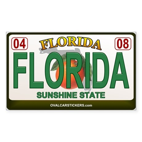 Florida License Plate Rectangle Sticker