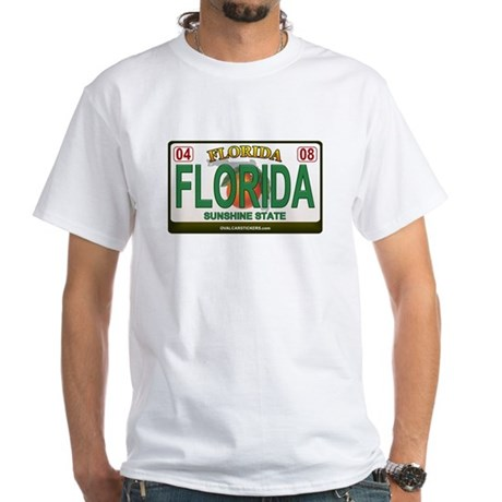 Florida License Plate White T-Shirt