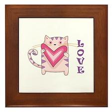 LOVE KITTY CAT Framed Tile