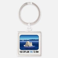Arctic Polar Bear Square Keychain