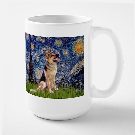 Starry Night & German Shepherd 1 Large Mug