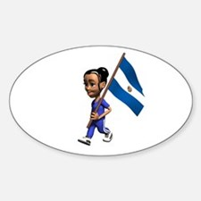 El Salvador Girl Oval Decal