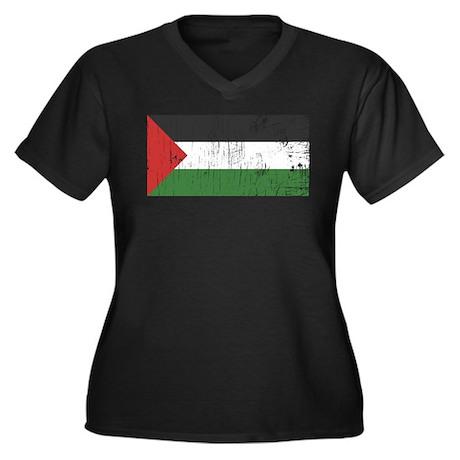 Vintage Palestine Women's Plus Size V-Neck Dark T-