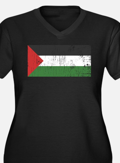 Vintage Palestine Women's Plus Size V-Neck Dark T-