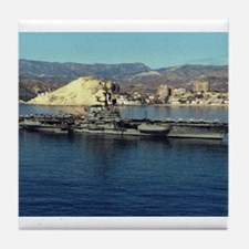 USS Coral Sea Ship's Image Tile Coaster