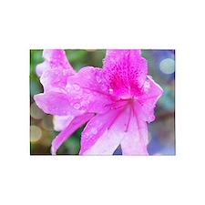 Beautiful pink garden flowers. 5'x7'Area Rug