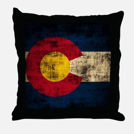 Vintage Grunge Colorado Flag Throw Pillow