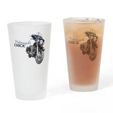 Chick Motorcycle Drinking Glass