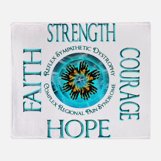 CRPS RSD Faith Courage Strength Hope Throw Blanket
