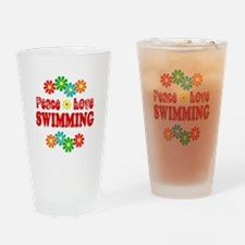 Peace Love Swimming Drinking Glass