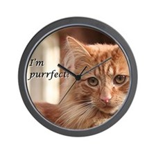 Ginger pet Cat - I'm purrfect! Wall Clock